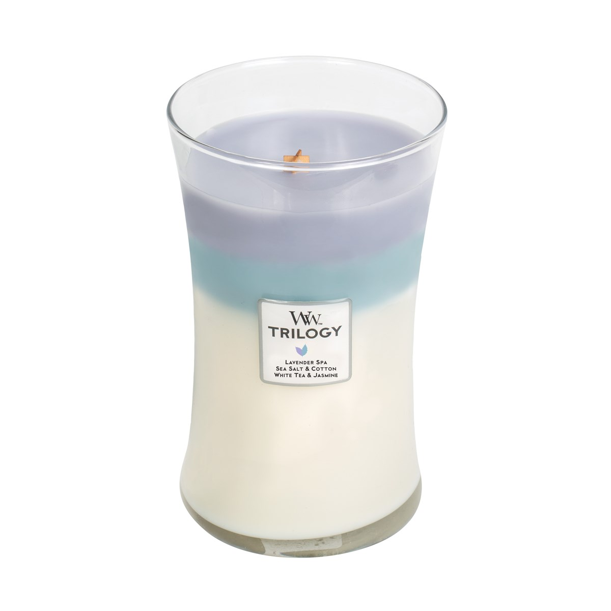 Woodwick Świeca Trilogy duża-Calming Retreat (Lavender Spa  Sea Salt & Cotton  White Tea & Jasmine)