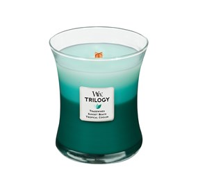 Woodwick Świeca Trilogy średnia-Ocean Escape (Tradewinds  Sunset Beach  Troical Cooler)