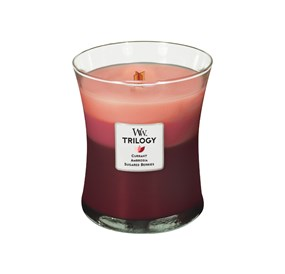 Woodwick Świeca Trilogy średnia-Fruit Temptation (Currant  Ambrosia  Sugared Berries)