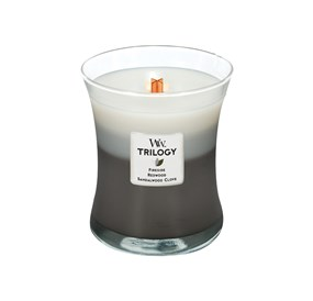 Woodwick Świeca Trilogy średnia-Warm Woods (Fireside  Redwood  Sandalwood Clove)