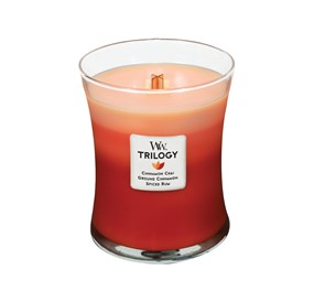 Woodwick Świeca Trilogy średnia-Exotic Spices (Cinnamon Chai  Ground Cinnamon  Spices Rum)